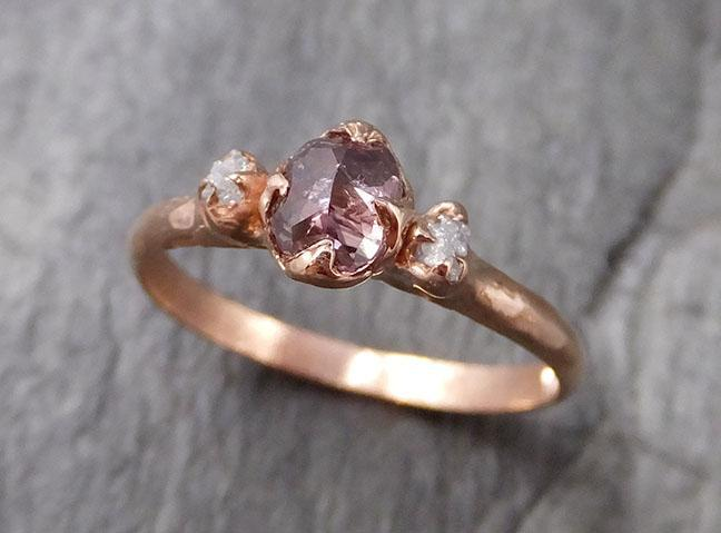 Dainty Fancy cut salt and pepper Diamond Engagement 14k Rose Gold Multi stone Wedding Ring Stacking Rough Diamond Ring byAngeline 1326