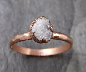Raw White Diamond Solitaire Engagement Ring Rough 14k rose Gold Wedding diamond Stacking Rough Diamond byAngeline 1329