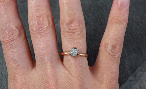 Raw White Diamond Solitaire Engagement Ring Rough 14k rose Gold Wedding diamond Wedding Set Stacking Rough Diamond byAngeline 1328