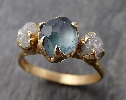 Partially Faceted Montana Sapphire Raw Multi stone Rough Diamond 14k Yellow Gold Engagement Ring Wedding Ring Custom One Of a Kind blue Gemstone Ring 0928