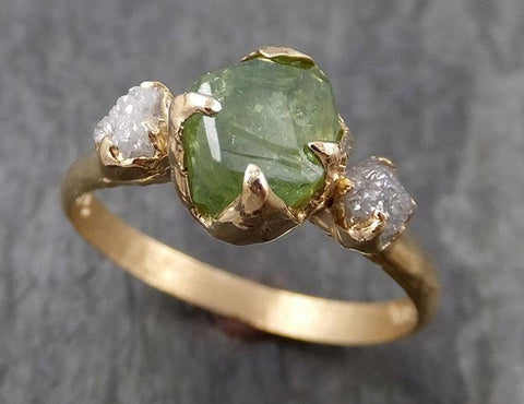 Raw Natural Demantoid Green Garnet Gemstone Solitaire ring Recycled 14k yellow Gold One of a kind Gemstone ring byAngeline 0930