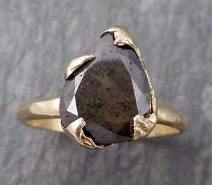 Carbonado Fancy cut Solitaire Engagement 14k yellow Gold Wedding Ring byAngeline 0931