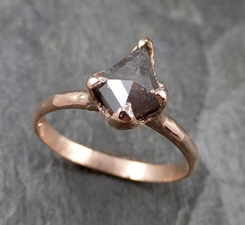 Fancy cut salt and pepper Diamond Engagement 14k Rose Gold Solitaire Wedding Ring Stacking byAngeline 1331