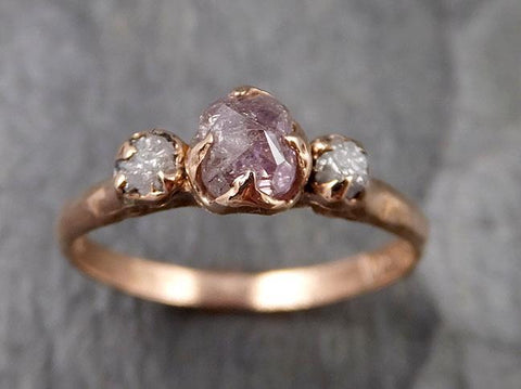 Faceted Fancy cut Pink Diamond Engagement Dainty 14k Rose Gold Multi stone Wedding Ring Rough Diamond Ring byAngeline 1333