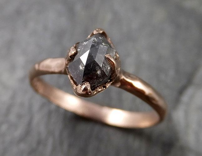 Fancy cut Salt and pepper Solitaire Diamond Engagement 14k Rose Gold Wedding Ring byAngeline 1334