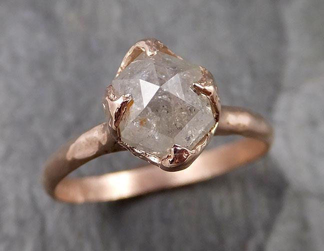 Faceted Fancy cut white Diamond Solitaire Engagement 14k Rose Gold Wedding Ring byAngeline 1335