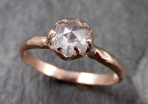 Faceted Fancy cut white Diamond Solitaire Engagement 14k Rose Gold Wedding Ring byAngeline 1336