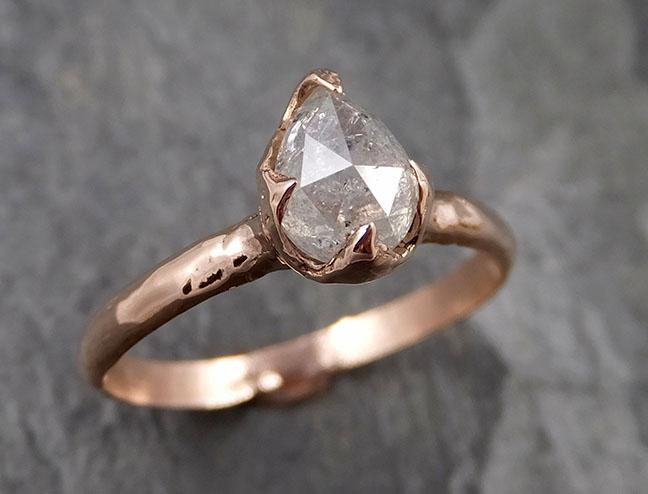 Faceted Fancy cut white Diamond Solitaire Engagement 14k Rose Gold Wedding Ring byAngeline 1337