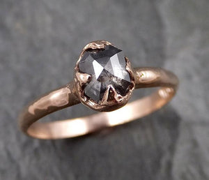 Fancy cut salt and pepper Diamond Engagement 14k Rose Gold Solitaire Wedding Ring byAngeline 1338