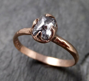 Fancy cut salt and pepper Diamond Engagement 14k Rose Gold Solitaire Wedding Ring byAngeline 1339