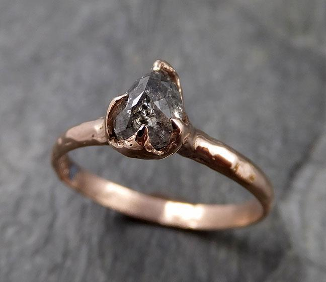 Fancy cut salt and pepper Diamond Engagement 14k Rose Gold Solitaire Wedding Ring byAngeline 1340