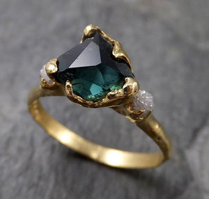Partially faceted natural sapphire gemstone Raw Rough Diamond 18k Yellow Gold Engagement multi stone 1342
