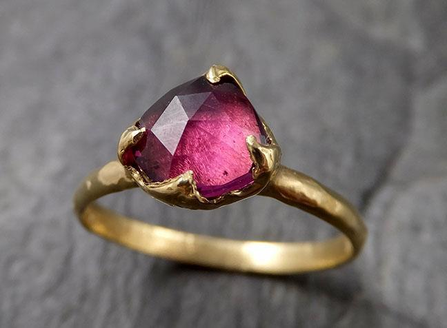 Fancy cut Garnet Gold Ring Gemstone Solitaire recycled 18k statement cocktail statement 1343
