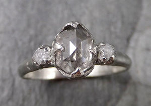 Faceted Fancy cut Salt and pepper Diamond Engagement 18k White Gold Multi stone Wedding Ring Rough Diamond Ring byAngeline 1345