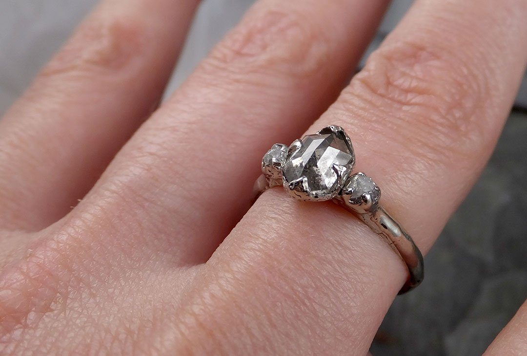 Faceted Fancy cut Salt and pepper Diamond Engagement 18k White Gold ...