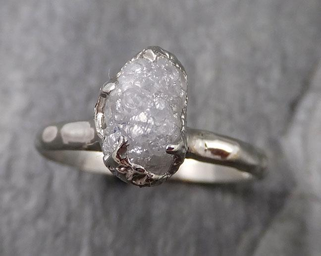 Raw White Diamond Solitaire Engagement Ring 18k White Gold Stacking Rough Diamond byAngeline 1346