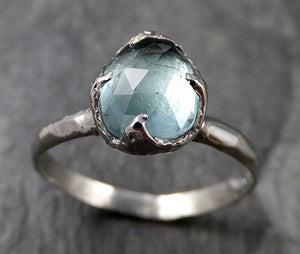 Fancy cut Blue Tourmaline 18k white Gold Ring Gemstone Solitaire recycled statement cocktail statement 1347