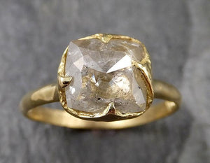 Fancy cut white Diamond Solitaire Engagement 18k yellow Gold Wedding Ring byAngeline 1350