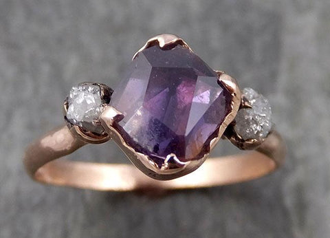 Sapphire Partially Faceted Multi stone Rough Diamond 14k rose Gold Engagement Ring Wedding Ring Custom One Of a Kind Gemstone Ring 0933