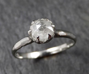 Faceted Fancy cut white Diamond Solitaire Engagement 18k White Gold Wedding Ring byAngeline 1354