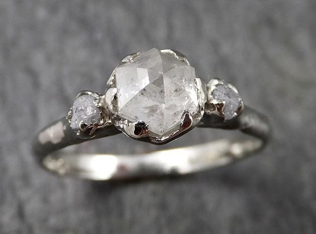 Faceted Fancy cut white Diamond Multi stone Engagement 18k White Gold Wedding Ring byAngeline 1355