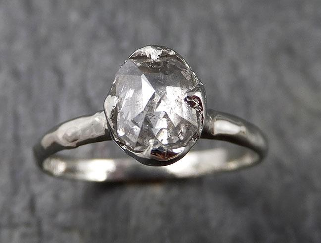 Faceted Fancy cut white Diamond Solitaire Engagement 18k White Gold Wedding Ring byAngeline 1358