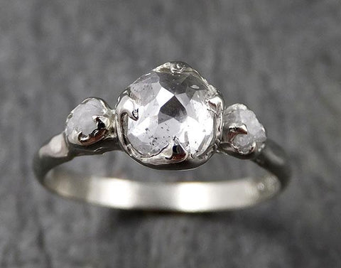 Faceted Fancy cut white Diamond Multi stone Engagement 18k White Gold Wedding Ring byAngeline 1361