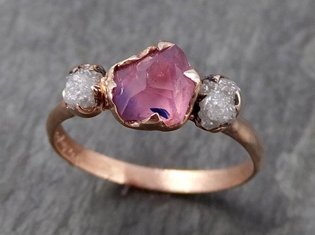 Sapphire Partially Faceted Raw Multi stone Rough Diamond 14k rose Gold Engagement Ring Wedding Ring Custom One Of a Kind Gemstone Ring 0935