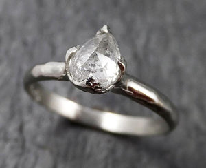 Faceted Fancy cut white Diamond Solitaire Engagement 18k White Gold Wedding Ring byAngeline 1366