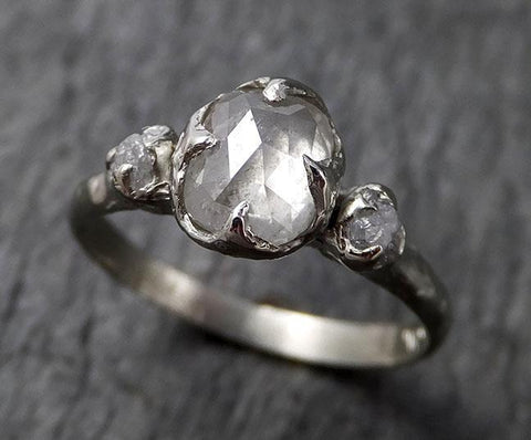 Faceted Fancy cut white Diamond Multi stone Engagement 18k White Gold Wedding Ring byAngeline 1367