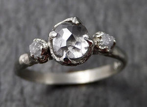 Faceted Fancy cut white Diamond Multi stone Engagement 18k White Gold Wedding Ring byAngeline 1368