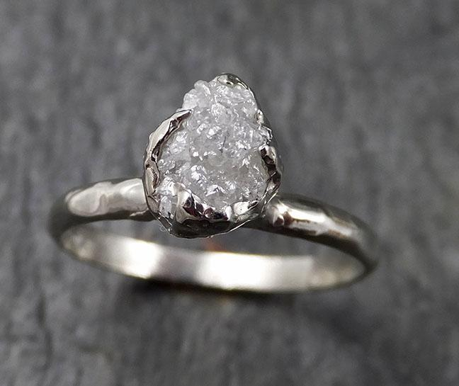 Rough Diamond Engagement Ring Raw 14k White Gold Ring Wedding Diamond Solitaire Rough Diamond Ring byAngeline 1371