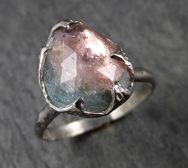 Fancy cut Pink Tourmaline White Gold Ring Gemstone Solitaire recycled 14k statement cocktail statement 1376