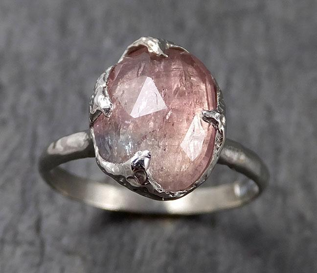 Fancy cut Pink Tourmaline White Gold Ring Gemstone Solitaire recycled 14k statement cocktail statement 1377