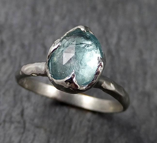 Fancy cut blue Tourmaline White Gold Ring Gemstone Solitaire recycled 14k statement cocktail statement 1378