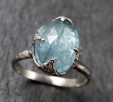 Fancy cut blue Tourmaline White Gold Ring Gemstone Solitaire recycled 14k statement cocktail statement 1379