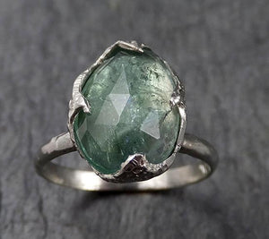 Fancy cut Green Tourmaline White Gold Ring Gemstone Solitaire recycled 14k statement cocktail statement 1380