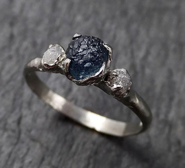 Raw Montana Sapphire Diamond White Gold Engagement Ring blue Multi stone Wedding Ring Custom One Of a Kind Gemstone Ring Three stone Ring byAngeline 1382