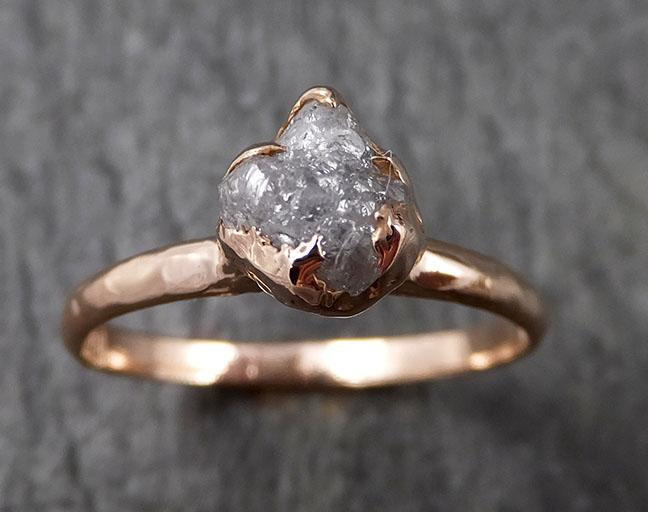 Raw White Diamond Solitaire Engagement Ring Rough 14k rose Gold Wedding diamond Stacking Rough Diamond byAngeline 1384