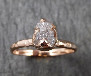 Raw White Diamond Solitaire Engagement Ring Rough 14k rose Gold Wedding diamond Stacking Rough Diamond byAngeline 1386