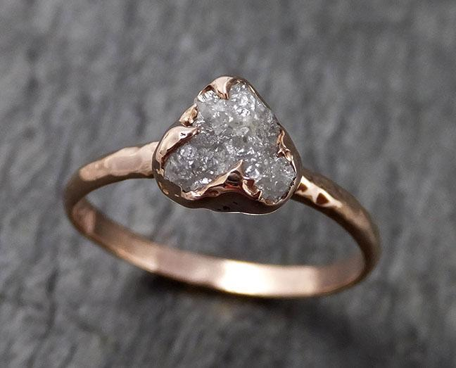 Raw White Diamond Solitaire Engagement Ring Rough 14k rose Gold Wedding diamond Stacking Rough Diamond byAngeline 1387