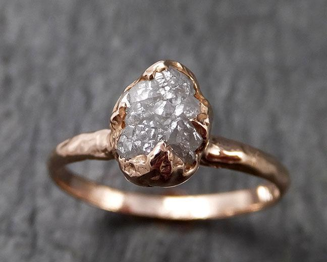 Raw White Diamond Solitaire Engagement Ring Rough 14k rose Gold Wedding diamond Stacking Rough Diamond byAngeline 1389