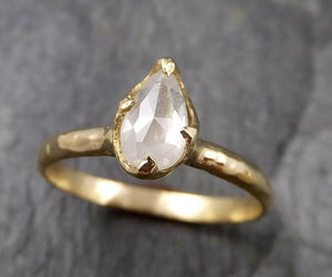 Fancy cut white Diamond Solitaire Engagement 18k yellow Gold Wedding Ring byAngeline 1391