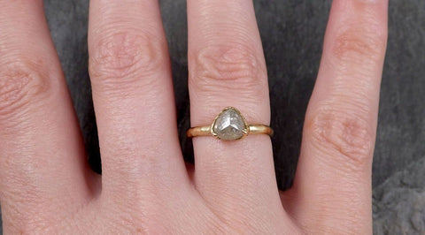 Fancy cut white Diamond Solitaire Engagement 18k yellow Gold Wedding Ring byAngeline 1393