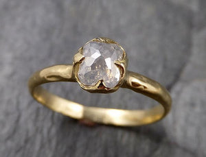 Fancy cut white Diamond Solitaire Engagement 18k yellow Gold Wedding Ring byAngeline 1394