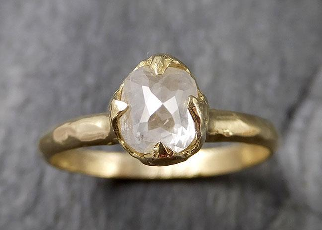Fancy cut white Diamond Solitaire Engagement 18k yellow Gold Wedding Ring byAngeline 1396