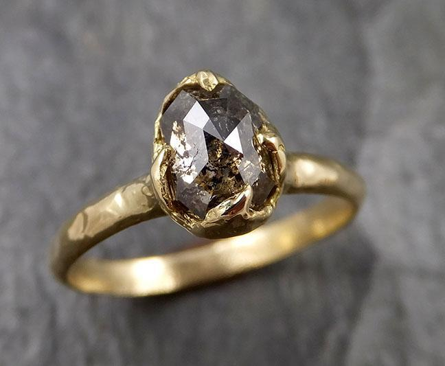 Fancy cut salt and pepper Diamond Solitaire Engagement 18k yellow Gold Wedding Ring Diamond Ring byAngeline 1397