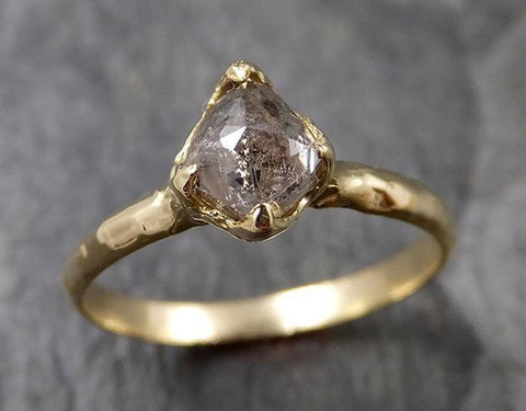 Fancy cut salt and pepper Diamond Solitaire Engagement 18k yellow Gold Wedding Ring Diamond Ring byAngeline 1403