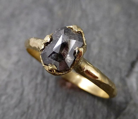 Fancy cut salt and pepper Diamond Solitaire Engagement 18k yellow Gold Wedding Ring Diamond Ring byAngeline 1404