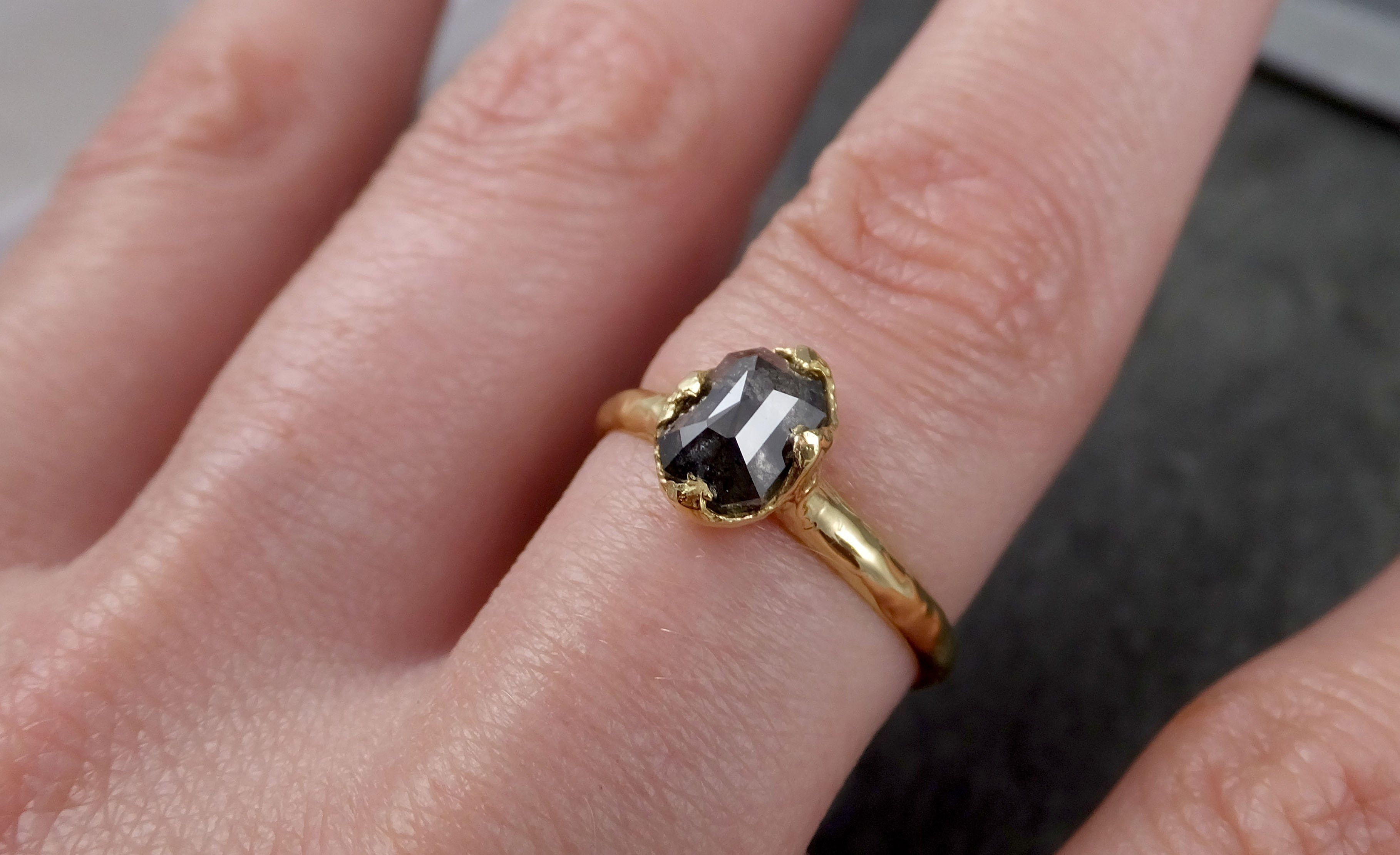Fancy cut salt and pepper Diamond Solitaire Engagement 18k yellow ...